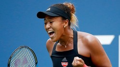 NEW YORK, NY - SEPTEMBER 03:  Naomi Osaka of Japan celebrates during the women's singles fourth round match against Aryna Sabalenka of Belarus on Day Eight of the 2018 US Open at the USTA Billie Jean King National Tennis Center on September 3, 2018 in the Flushing neighborhood of the Queens borough of New York City.  (Photo by Julian Finney/Getty Images)