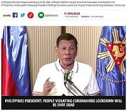 過激な発言が目立つフィリピンの大統領(画像は『Mirror Online 2020年4月6日付「Man refusing to wear facemask shot dead in Philippines after president's threat」』のスクリーンショット)