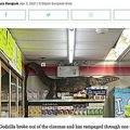セブン-イレブン店内に現れた巨大なトカゲ(画像は『Coconuts Bangkok 2021年4月7日付「Rampaging, thirsty lizard terrifies Bangkok 7-Eleven (Video)」』のスクリーンショット)