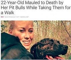22歳の飼い主ピットブルに食い殺される(画像は『Inside Edition 2017年12月17日付「22-Year-Old Mauled to Death by Her Pit Bulls While Taking Them for a Walk」』のスクリーンショット)