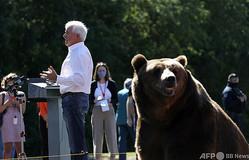 米カリフォルニア州サクラメントで行われた選挙集会で、演説する州知事選の共和党候補ジョン・コックス氏(左)とクマのタグ(2021年5月4日撮影)。(c)JUSTIN SULLIVAN / GETTY IMAGES NORTH AMERICA / Getty Images via AFP