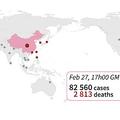 新型コロナウイルスによる死者(赤)と感染者(灰色)が確認された国・地域(2020年2月28日午前3時現在)。(c)SIMON MALFATTO / AFP