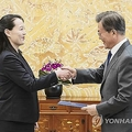文大統領(右)に金正恩委員長の親書を手渡す金与正氏=10日、ソウル(聯合ニュース)