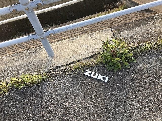 道端に「ZUKI」が落ちてた... 「SU」だけつけて走っているドライバーいませんか?