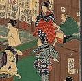 2つの石をこすり合わせて毛を処理 江戸時代の湯屋の風景