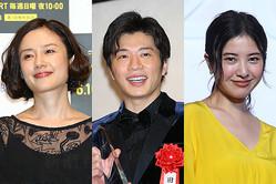 (左から)「あなたの番です」の主演、原田知世と田中圭「わたし、定時で帰ります。」の主演、吉高由里子
