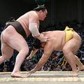 白鵬(左)ははたき込みで遠藤を下す=21日、福岡国際センター