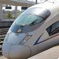 中国高速鉄道の車両「和諧号」。最高時速は350キロ(山東省の煙台駅で)