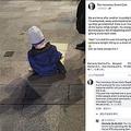 路上でひとり炊き出しを食べるホームレスの5歳児(画像は『The Homeless Street Cafe 2019年10月15日付Facebook「We are home after another incredibly busy night.」』のスクリーンショット)