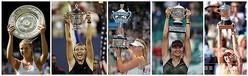 四大大会(グランドスラム)の優勝トロフィーを掲げるマリア・シャラポワのコンボ写真(2020年2月26日作成)。(c)AFP