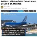 世界一危険と言われるセント・マーチン島のマホ・ビーチ(画像は『Global News 2017年7月13日付「Jet blast kills tourist at famed Maho Beach in St. Maarten」』のスクリーンショット)