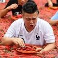 湖南省寧郷市炭河古城で7月8日、唐辛子コンテストが行われた。