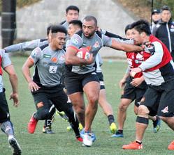 練習するラグビー日本代表候補。ボールを持つのはリーチ・マイケル主将(中央)