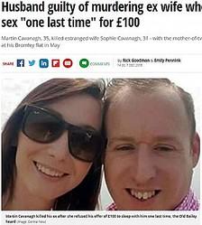 """性行為を断られ逆上した夫、妻を絞殺(画像は『Mirror 2018年12月7日付「Husband guilty of murdering ex wife who refused to have sex """"one last time"""" for £100」(Image: central news)』のスクリーンショット)"""