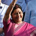 今年5月、インド・ニューデリーで自身最後の閣議に出席したスシュマ・スワラジ外相(当時、2019年5月24日撮影)。(c)Money SHARMA / AFP