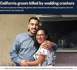 新婚生活が始まろうとしていた矢先、新郎が命を落とす(画像は『NBC News 2019年12月17日付「California groom killed by wedding crashers」(KNBC)』のスクリーンショット)