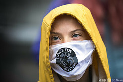 スウェーデンの環境活動家グレタ・トゥンベリさん(2020年10月9日撮影)。(c)Jonathan NACKSTRAND / AFP