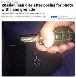 悪ふざけで命を失う羽目に(画像は『The Independent 2017年11月28日付「Russian man dies after posing for photo with hand grenade」(east2west news)』のスクリーンショット)