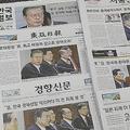 7月15日の文在寅大統領による「日本批判」を報じる韓国各紙(時事通信フォト)