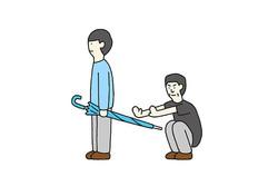 """""""傘の持ち方がダメな人""""を描いたイラストのカット=よしだ(@five1996)さん提供"""