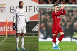 UEFAユースリーグの試合で睨み合いとなった小久保(左)とエリオット(右) photo/Getty Images