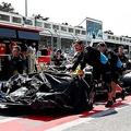 破損したジョージ・ラッセルの車体【写真:Getty Images】