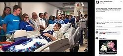 手術室に向かう少年(画像は『Joann Jackson Bogard 2019年5月7日付Facebook「Our hero saved 5 lives!」』のスクリーンショット)