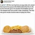 捜査官が明かした女性からの呆れた訴え(画像は『Inspector Darren Taylor 2021年1月21日付Twitter「A call @11.30 this morning from an angry lady who stated that due to the queue at the McDonalds drive thru in EG」』のスクリーンショット)