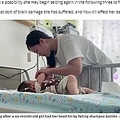 入院中の女児と母親(画像は『Daily Star 2020年5月15日付「Baby left with deformed head after shampoo bottles fall from high-rise and hit her」(Image: AsiaWire)』のスクリーンショット)