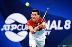 男子テニスの国別対抗戦ATPカップ準々決勝、セルビア対カナダ。リターンを打つセルビアのノバク・ジョコビッチ(2020年1月10日撮影、資料写真)。(c)William WEST / AFP