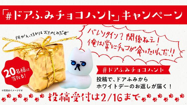 「#ドアふみチョコハント」ツイートで、20名様にホワイトデーのお返しが届く!