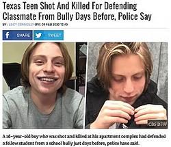 いじめの被害者を助けたことで射殺された少年(画像は『UNILAD 2020年2月9日付「Texas Teen Shot And Killed For Defending Classmate From Bully Days Before, Police Say」(CBS DFW)』のスクリーンショット)