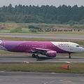 成田空港でのピーチアビエーションのエアバスA320型機 撮影:北島幸司