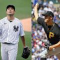 去就が注目される田中(左)とヤンキースに加入したタイオン(右)