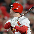 ST. LOUIS, MO - APRIL 19: Lane Thomas # 35 of the St. Louis Cardinals hits a two-run homerun in the sixth inning against the New York Mets at Busch Stadium on April 19, 2019 in St. Louis, Missouri. The Mets defeated the Cardinals 5-4. (Photo by Michael B. Thomas /Getty Images)