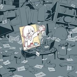 今の世の中を表している 汚部屋でキレイな自撮りをする女子のイラスト