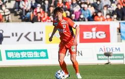 3点目を決めた西岡大輝。ハーフタイムから出場し、勝利に大きく貢献した。(C)EHIME FC