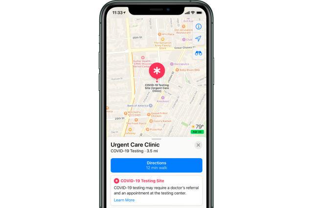 アップル、「マップ」アプリに新型コロナ検査場所をまもなく追加
