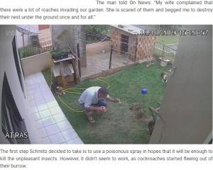 [画像] 【海外発!Breaking News】ゴキブリを駆除しようとした男性、庭が吹っ飛び呆然(ブラジル)<動画あり>