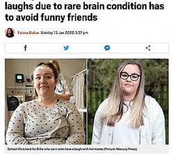 疾患のせいで友人らと笑い合うこともできない17歳少女(画像は『Metro 2020年1月13日付「Teenager who faints every time she laughs due to rare brain condition has to avoid funny friends」(Picture: Mercury Press)』のスクリーンショット)