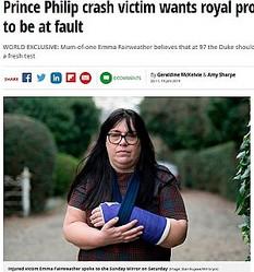 フィリップ殿下の事故に巻き込まれた被害者女性(画像は『Mirror 2019年1月19日付「Prince Philip crash victim wants royal prosecuted if found to be at fault」(Image: Stan Kujawa/Mirrorpix)』のスクリーンショット)