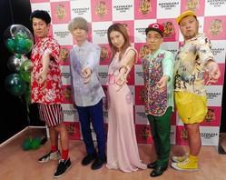 コヤブソニック2019に出演したジェニーハイの(左から)小籔千豊、川谷絵音、中嶋イッキュウ、新垣隆、くっきー=インテックス大阪