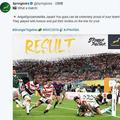 南アフリカラグビー代表の公式ツイッターには日本戦を終えた後、「Arigat●(oの上に−)gozaimashita Japan!」と投稿された