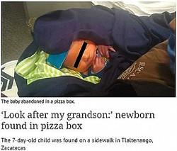 ピザの箱に入ったまま発見された新生児(写真は