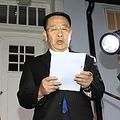 10月のストックホルムでの米朝実務協議後に声明を発表する金明吉氏=(AP・共同=聯合ニュース)