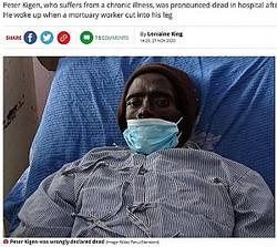 遺体安置室に運ばれた後に息を吹き返した32歳男性(画像は『Mirror 2020年11月27日付「Man 'comes back to life' in morgue as workers were getting ready to embalm him」(Image: Nikko Tanui/Standard)』のスクリーンショット)