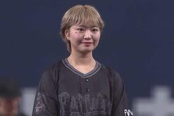 始球式を務めた元SKE48の矢方美紀さん【画像:パーソル パ・リーグTV】