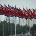 北朝鮮の国旗。平壌にて(2019年4月13日撮影、資料写真)。(c)Ed JONES / AFP