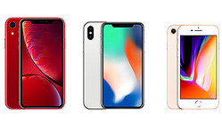 (左から)iPhone XR、iPhone X、iPhone 8