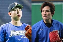 ヤクルトへのトレード移籍が決まった太田(左)、高梨【写真:石川加奈子】
